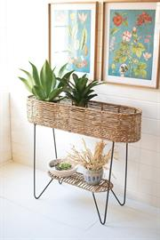 Large oval seagrass and iron plant stand