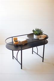 Metal accent table with round bowl