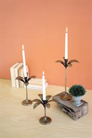 Set of three antique brass palm tree candle holders