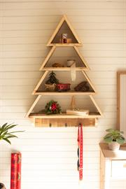 Recycled wood wall Christmas tree shelf with coat hooks