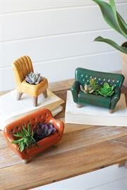 Set of three ceramic sofa and chair planters