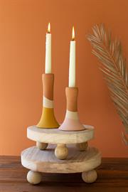 Set of two round wooden risers with ball feet