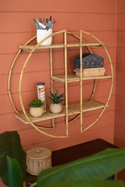 Round metal and faux bamboo detail wall shelf