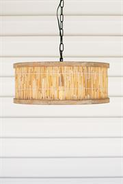 Round wood framed pendant light with cane detail