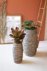 Set of two tall oval rattan planters