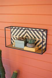 Metal & wood wall shelf with black & natural woven cane