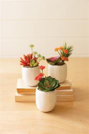 Set of three artificial succulent plants in a white ceramic pot