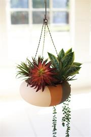 Clay Triple Stripe Hanging Planter