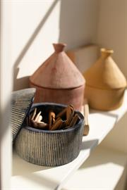 Set of three textured tagine storage canisters