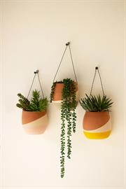 Set of three color dipped clay wall pocket planters with wire hangers