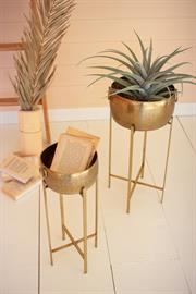 Set of two brass finish planters with stands
