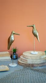 Set of two brass birds on a marble base