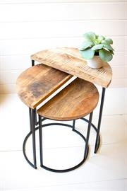 Set of three nesting Demi-lune mango wood and metal tables