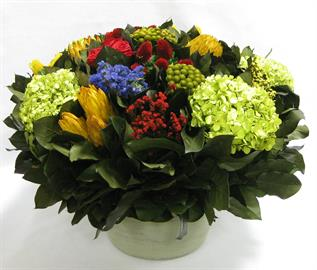 Medium Round Wooden Grey Green  Container -  Multicolor w/ Clover, Roses, Banksia, Protea & Hydrangea Basil