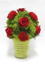 Ceramic Vase Lime - Reindeer Moss Topiary Ball w/Roses Red & Dianthus