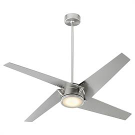 The Axis ceiling fan boasts transitional elements on a modern design. Its Satin Nickel finished body is crafted from metal and accented by four matching wooden blades for a cohesive look and an integrated LED light to brighten your space.