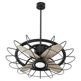 Combining 19th-century industrial-style with 21st-century technology, the vintage Mira ceiling fan/chandelier combo, also known as a fandelier, features three compressed blades an open-aired cage, all wrapped together in a compact form.
