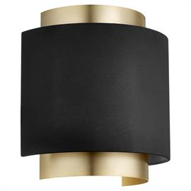 Light up your space with this 2-light wall sconce. The curved shape is punctuated by a two-layer frame showcasing a matte Noir finished shade contrasted with the Aged Brass frame. This sleek design makes a classic statement, with light that extends bi-directionally.