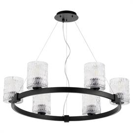 This transitional, single-tier chandelier boasts a Noir finish on its rounded shape. With ample illumination for your daily needs, the Stadium chandelier will add a layer of contemporary styling to your home's décor. With a modernized wagon wheel silhouette, this lighting collection boasts cylindrical, chiseled glass shades for a soft diffusion of light. Further updating the period-inspired aesthetic is the nearly unseen, thin-wire suspension, which gives the chandelier the appearance of floating rather t