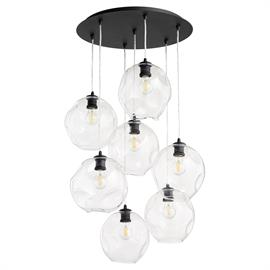 Brighten your space in contemporary style with this lustrous pendant cluster! These rounded fixtures are crafted of metal in a Noir finish. They each feature a pendant holder and a large streamlined cylindrical socket, surrounded by clear wavy glass globes.