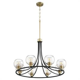 Eight-light chandelier in Aged Brass and Noir finishes, adjustable height mounted by chain and stem.