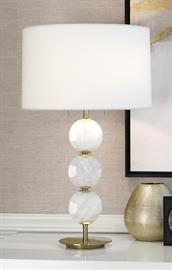 Modern Brass Table Lamp with White Rock Crystal Accents