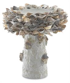The lovely Oyster Shell Small Bird Bath combines uncommon materials and a whimsical design to transform the humble oyster shell and unrefined concrete into a functioning outdoor art piece. All of our concrete bird baths in differing sizes are in a natural finish; and we offer a number of furnishings in the Oyster Shell family.
