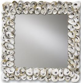 Fitted cleverly along the frame of the Oyster Shell Mirror are half shells with rounded edges that provide this decorative mirror with layers of scalloped texture. At twenty inches square, this shell mirror is one of many of our nautical offerings in our Oyster Shell family.