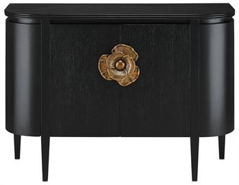 The impressively sized brass flower pull on the Briallen Black Demi-Lune is a stunning ornamentation. Contrasting the Caviar black stain, the floral motif in an antique brass finish brings the black cabinet a sophisticated feel and illustrates the skill of our artisans who hand-cast the handle in brass. We offer the Briallen in a number of designs and in two finishes.
