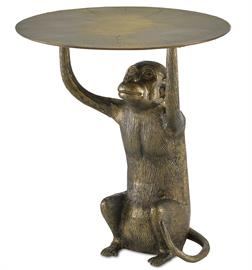 We don't monkey around when it comes to whimsical design. Case in point is our Abu Accent Table with its seated ape, molded in cast aluminum, that lifts its table top with little effort. The antique gold finish that covers the piece makes the gold occasional table read as if it has aged. Creases molded into the top also support the effect that this is a vintage piece.