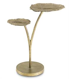 Manifesting the striking form of the taro plant, commonly known as elephant's ears, the Utopia Occasional Table is a winsome style. Finished in a lustrous Antique Gold, hand-cast aluminum forms the fronds of this lively nature-inspired design.