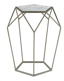 A leaner version of its sister style, the Axiom Drinks Table is a notable statement piece. The lean lines of its geometrical wrought iron frame give it an airy feel, while flecked Antique Mirror and a Mayfair finish add an industrial edge
