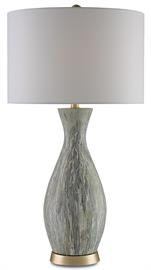 A hand-applied finish enlivens the surface of the Rana Table Lamp. Made from terracotta that was dripped with gray, white, and muted green glazes, the lamp has a mossy color palette. An interplay of warmth and coolness is introduced by the silver leaf finish on the hardware and a conical Blanco linen shade.