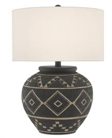 The Tattoo Table Lamp has a surface covered in basket-weave, a pattern that is scratched from the brewed latte finish on the terracotta body. The wrought iron hardware in a Molé black finish fits perfectly with the tones on the dark gray lamp, which has a terracotta finial in a matching finish to fasten the off-white linen drum shade to the piece.