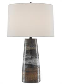 Awash in textural patina, our Zadoc Table Lamp is made of ceramic in a mix of terracotta, natural, and cloud-colored finishes. The artfully rendered surfacing details are complemented by metal hardware in a black finish and a dark brown finial that secures the white linen shade to this multi-colored lamp.