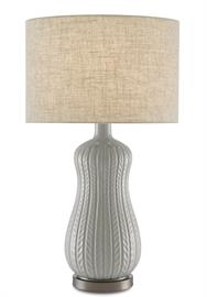 Knitting itself a perfect profile, our Mamora Pale Table Lamp is made of ceramic with a pale glaze. This table lamp with its slight feminine feel perches atop a metal base. The texture in the natural linen shade perfectly complements the leafy trellis pattern that runs along the body of the peanut-shaped lamp.