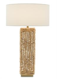 Our Torquay Table Lamp is one of our creations that illustrates the skill of our artisans who weave natural materials. The rope table lamp has a rectangular body that is woven from natural water hyacinth, the chevron pattern creating a earthy texture. We've topped the elemental table lamp with an off-white linen shade.