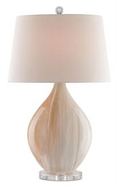 Shell-pink and pearly alabaster hues absorb the light and softly reflect it back from the round body of the Opal Table Lamp. The clear acrylic base and finial enhance the ethereal feel of this pink table lamp with its creamy hand-applied amber finish. The Opal is fitted with an off-white linen shade