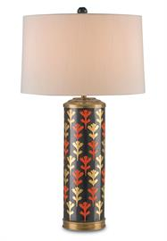 The toasty autumn-inspired colors of the Alexis Table Lamp are on full display in this fantastic hand-painted piece. Gold and Burnt Orange patterns adorn the Black porcelain body of this classically shaped design, embellished with warm Antique Brass accents. The Winterthur Collection.