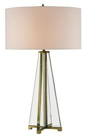 Our Lamont Table Lamp is made of intersecting planes of beveled optic crystal fitted into a brass base in a natural brass finish. The reflection of the metal stem rising along the pyramid shape of the clear crystal lamp draws the eye to the off-white shantung shade and pointy finial.
