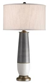 The Urbino Table Lamp has a terracotta body with a classic gray and white color scheme. Separating the dark from the light is a thin band of metal in a Pyrite bronze finish. A crackle white finish and lightly distressed metal add patina to the dark gray lamp fitted with a natural linen shade.