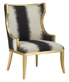 Chic, comfortable, and timeless, the Garson Kona Chair is an updated take on the classic wingback design. The frame is made of mahogany with an antique gold finish. The black and white chair is upholstered in an F0186 Otunga Kona fabric, made up of 100 percent polyester. We also offer a Garson Kona Ottoman. Cleaning code: WS or Spot Clean. Also available in muslin.