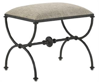 The curvaceous sides and the ornamented stretcher of the Agora Peppercorn Ottoman are made of iron in a rustic bronze finish. The upholstered top, covered in a F0218 Calcutta Peppercorn fabric softens the profile of the black ottoman. The fabric is made of 100 percent polyester and has a cleaning code: S. We also offer this ottoman in muslin so that it can be upholstered in a customer's own material; and the Agora family of products includes other upholstered pieces and a console table with a concrete top