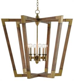The Arts & Crafts movement inspired the design of the Bastian Large Lantern, which is made of wrought iron and wood in chestnut and brass finishes. The aged feel of the brass clasping the spokes of wood brings extra warmth to this brown lantern. There are a number of designs in this family of fixtures
