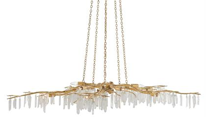 The Forest Light Gold Chandelier is an exceptional work of art dripping with quartz crystals. The washed Lucerne gold finish is a perfect complement to the quartz on this sculptural ten-light chandelier. We also offer the Forest Light, in our Aviva Stanoff Collection, in a sconce and in several chandelier finishes.