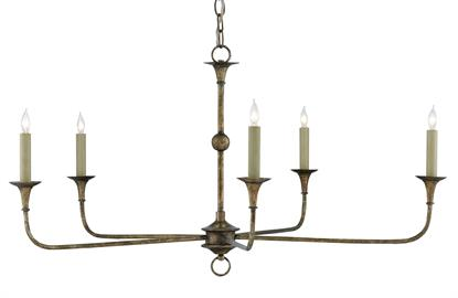 Design notes on the Nottaway Bronze Small Chandelier include long arms that stretch gracefully from a small cog and a ring that ornaments its bottom-most point. The profile of the fixture has a lovely fluidity to it, and the Pyrite bronze finish adds textural interest to the bronze chandelier. We offer the Nottaway in a several sizes and finishes.