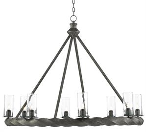 The traditional shape of the Orson Chandelier is cemented by a bottom ring in a rope motif made of wrought iron. The light Molé finish, the patina, and the clear glass canisters are design notes that bring this black chandelier a handsome profile.