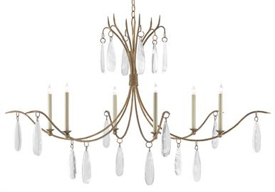 The Marshallia Chandelier, made of wrought iron in a rustic gold finish, has slender arms dripping with faux rock crystal pendants. A design note is how the candle-sleeves elevating the six bulbs are slender, which enhances the delicacy of this traditionally beautiful gold chandelier.