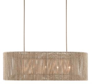 The Mereworth Chandelier has an oblong wrought iron frame around which natural abaca rope has been painstakingly wrapped to create its shade. The rope chandelier emits a warm glow thanks to the color of the abaca. The material also lends the chandelier a nautical feel that makes it perfect for seaside retreats and oceanfront homes.