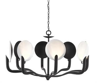 The Tirtoff Chandelier is the perfect juxtaposition of shapes and hues. Made of wrought iron in a mix of satin black and sugar white finishes, the black and white chandelier lifts perfect white discs that hide the illumination. The shape, and the black and white color combo, give this chandelier a slight Art Deco air that inspired us to name it after the famous artist Romain de Tirtoff. We also offer the Tirtoff as a wall sconce